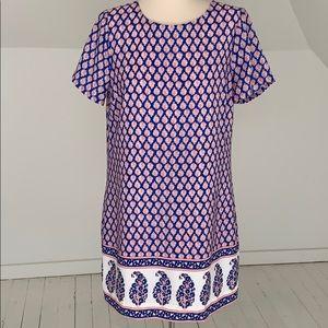 J Crew short sleeved dress blue paisley